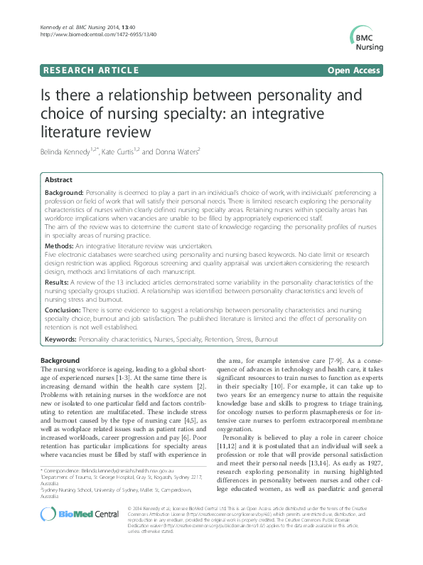 PDF) Is there a relationship between personality and choice of
