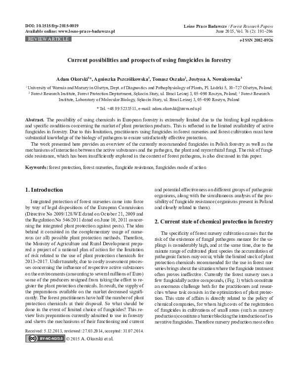 PDF) Current possibilities and prospects of using fungicides