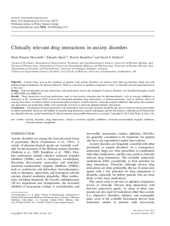 PDF) Clinically relevant drug interactions in anxiety disorders