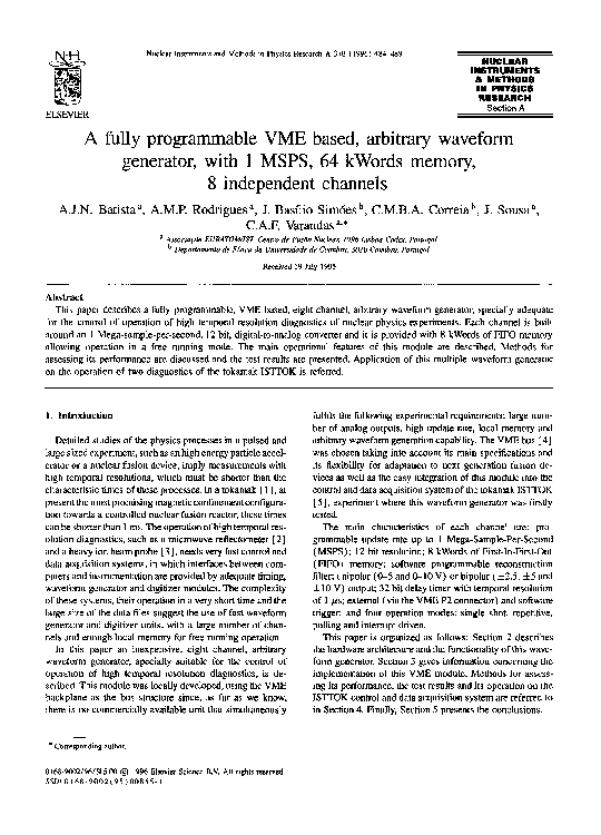 PDF) A fully programmable VME based, arbitrary waveform