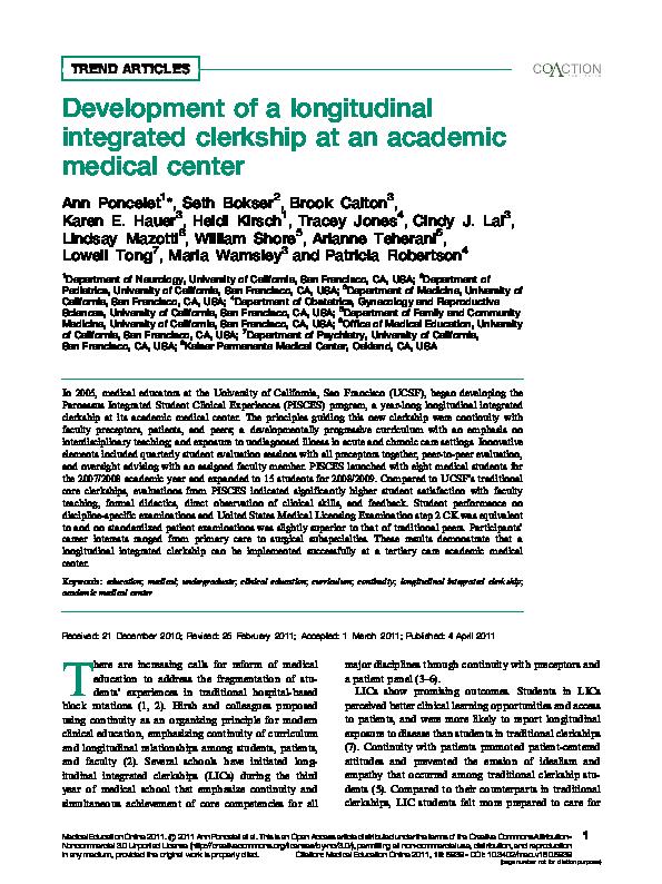 PDF) Development of a longitudinal integrated clerkship at