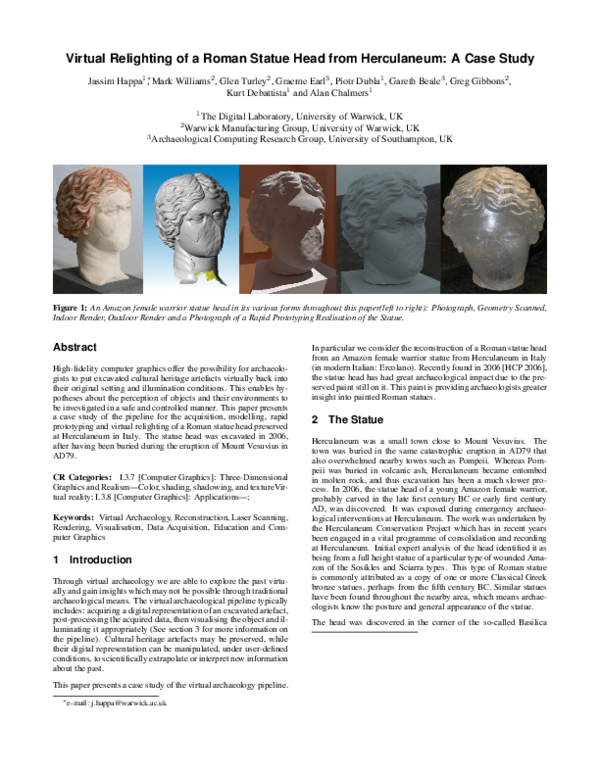 PDF) Virtual relighting of a Roman statue head from Herculaneum