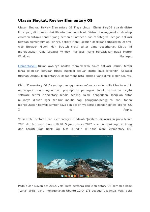 DOC) Ulasan Singkat: Review Elementary OS | Dede Dwi
