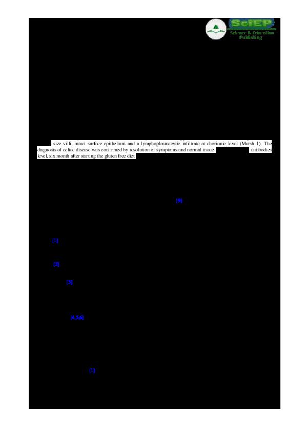 PDF Nonspecific Symptoms In Celiac Disease Case Report