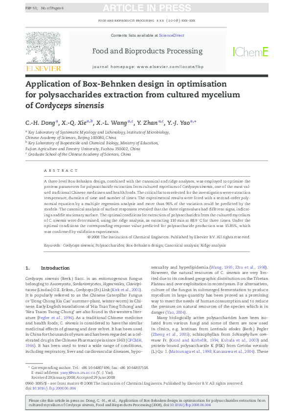 Pdf Application Of Box Behnken Design In Optimisation For Polysaccharides Extraction From Cultured Mycelium Of Cordyceps Sinensis Yi Jian Yao Academia Edu