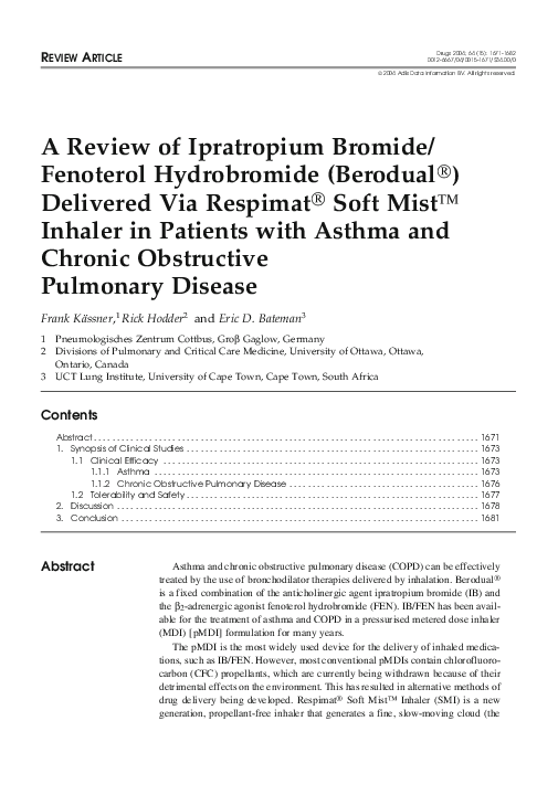 Pdf A Review Of Ipratropium Bromide Fenoterol Hydrobromide