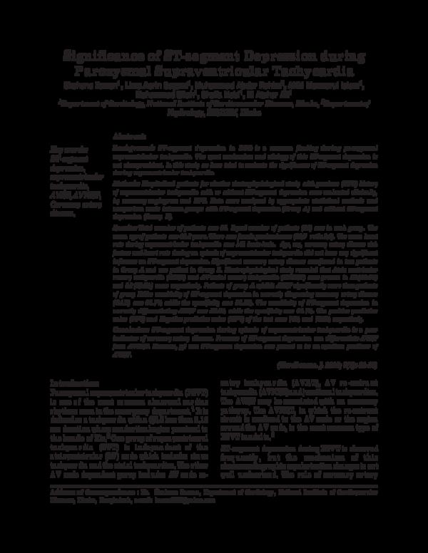 Pdf Significance Of St Segment Depression During Paroxysmal Supraventricular Tachycardia Mohammad Ullah Academia Edu