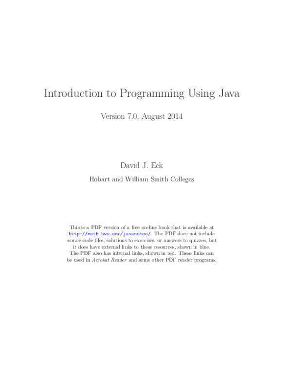 PDF) Introduction to Programming Using Java | Mike Manary