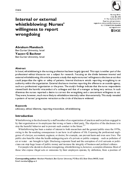 PDF) Internal or external whistleblowing: Nurses