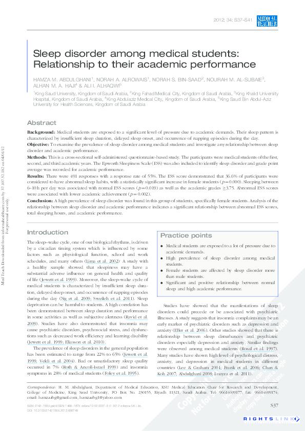 relationship between sleep and academic performance