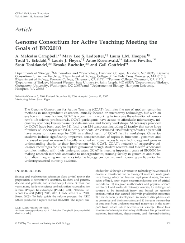 PDF) Genome Consortium for Active Teaching: Meeting the Goals of