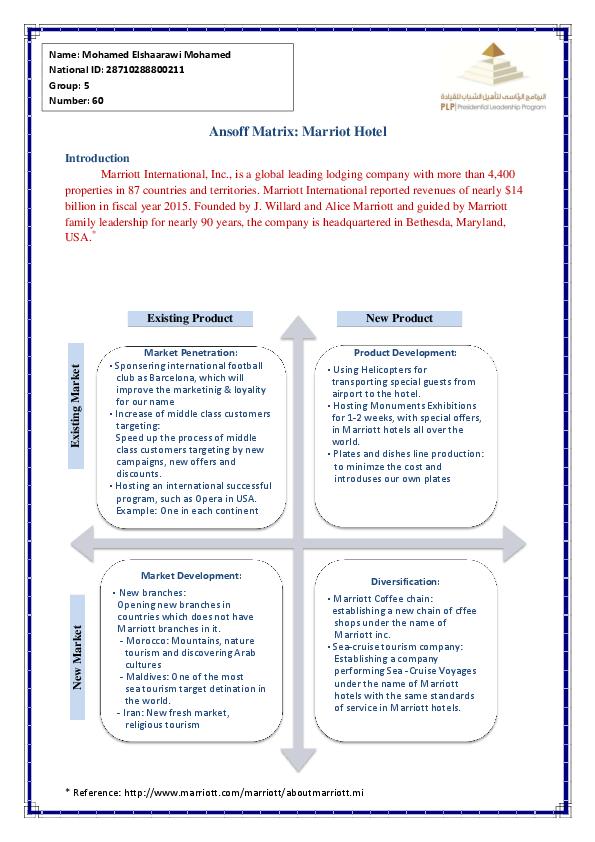 PDF) Ansoff Matrix: Marriot Hotel | Mohamed Elshaarawi