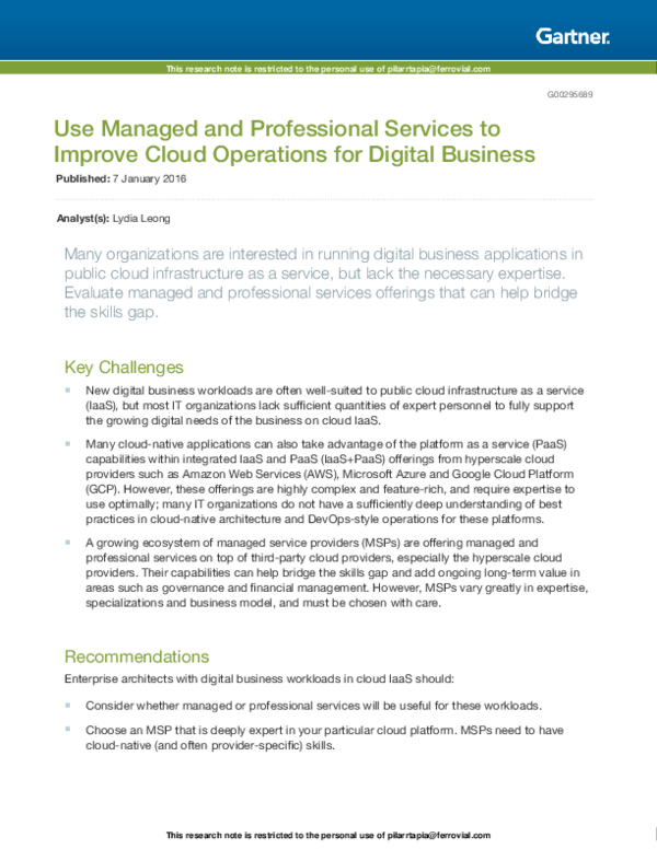 PDF) Use Managed and Professional Services to Improve Cloud