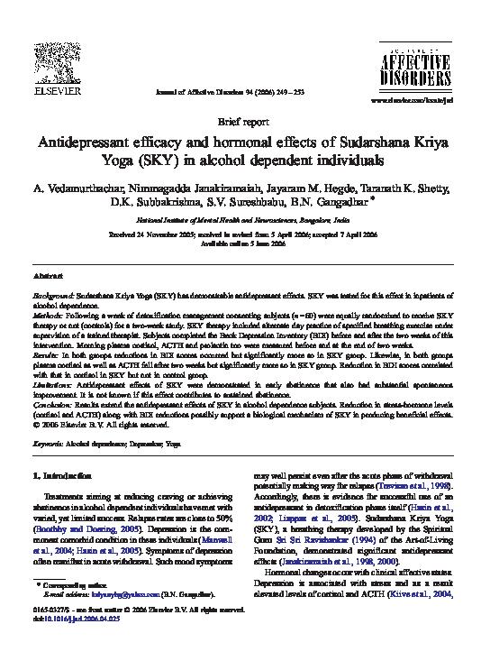 Pdf Antidepressant Efficacy And Hormonal Effects Of Sudarshana Kriya Yoga Sky In Alcohol Dependent Individuals B N Gangadhar Academia Edu