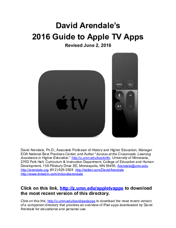 DOC) David Arendale's Guide to Apple TV Apps | David R Arendale