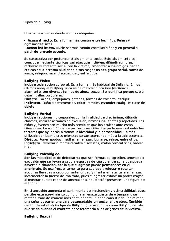 DOC) Tipos de bullying | Rossi Rodriguez - Academia edu