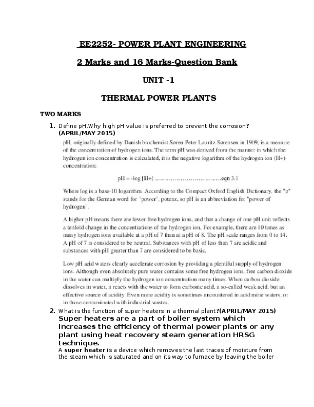 DOC) EE2252-POWER PLANT ENGINEERING 2 Marks and 16 Marks