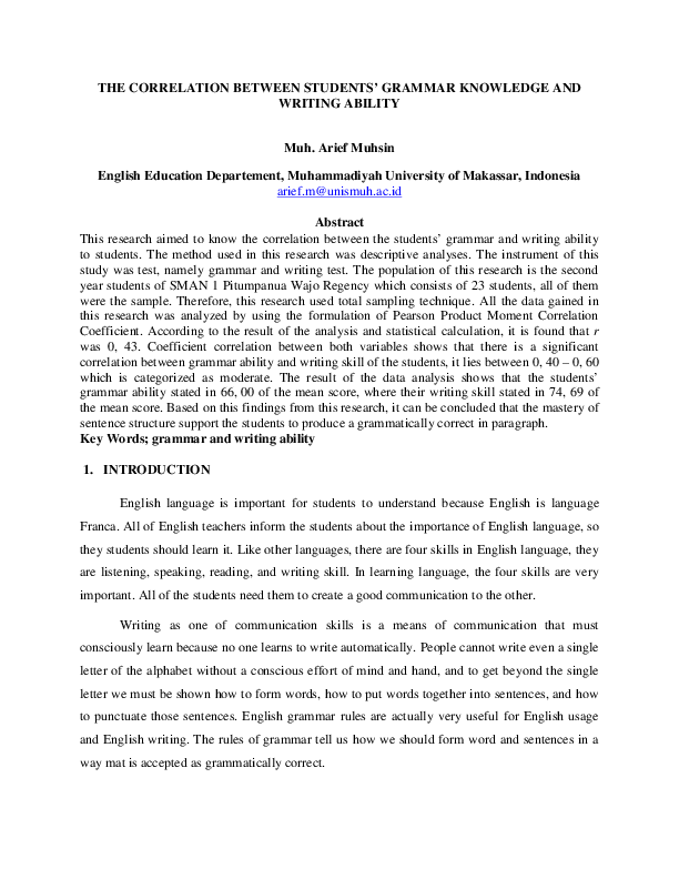 PDF) THE CORRELATION BETWEEN STUDENTS' GRAMMAR KNOWLEDGE AND ...