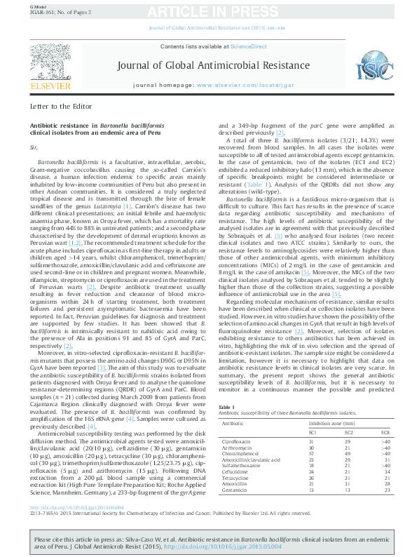 PDF) Antibiotic resistance in Bartonella bacilliformis