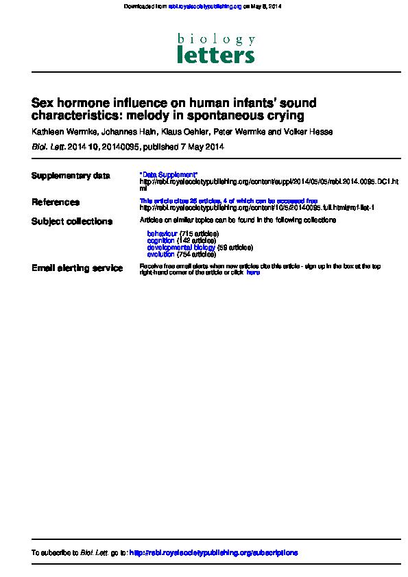 PDF) Sex hormone influence on human infants' sound characteristics