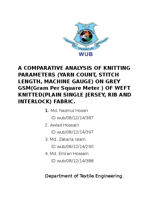 DOC) A COMPARATIVE ANALYSIS OF KNITTING PARAMETERS (YARN COUNT