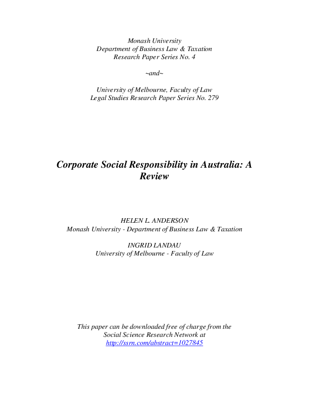 (PDF) Corporate Social Responsibility in Australia: A