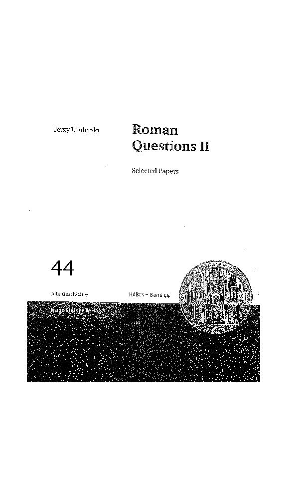 Pdf J Linderski Roman Questions Ii Stuttgart 2007 Jerzy