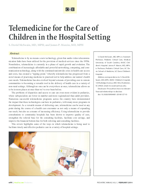 PDF) Telemedicine for the Care of Children in the Hospital