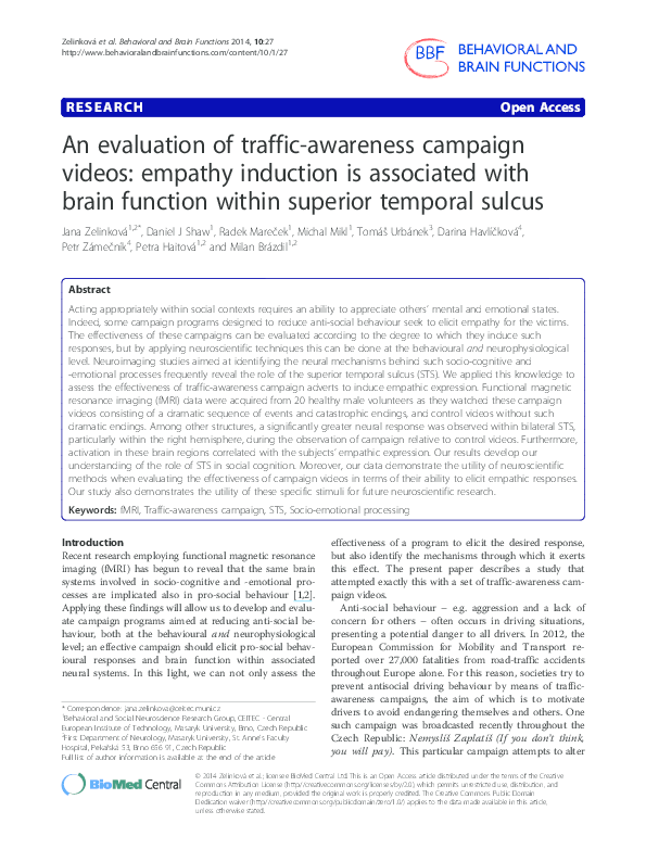 PDF) An evaluation of traffic-awareness campaign videos
