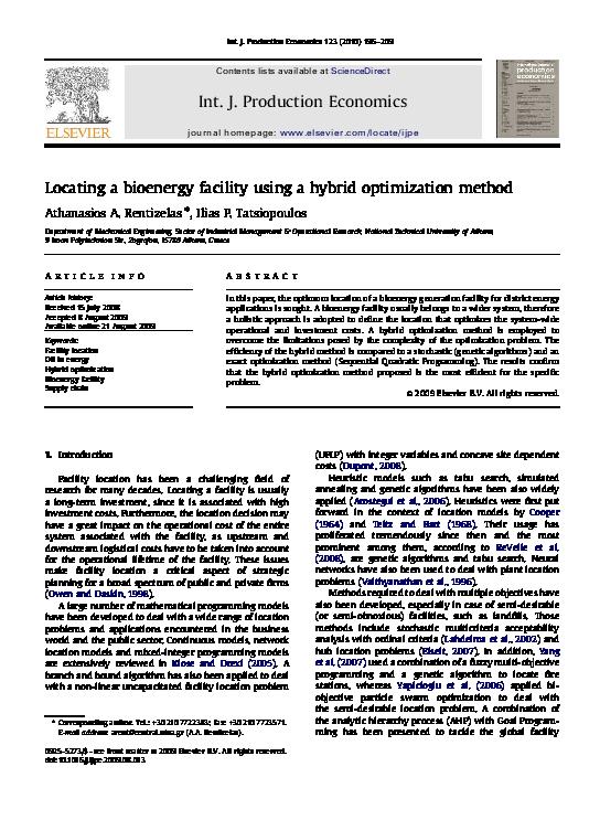 PDF) Locating a bioenergy facility using a hybrid