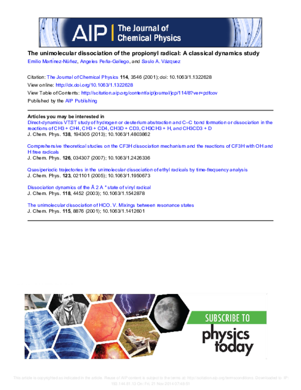 PDF) The unimolecular dissociation of the propionyl radical