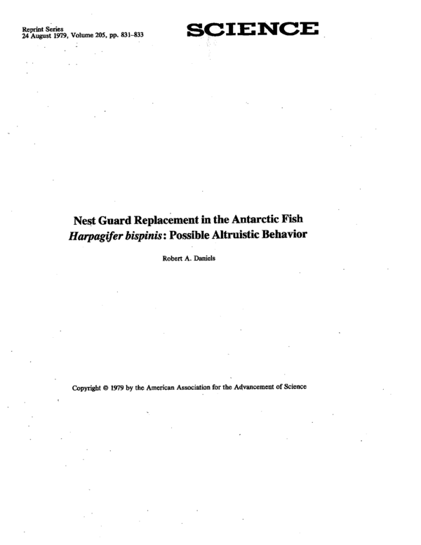 PDF) Nest guard replacement in the antarctic fish Harpagifer