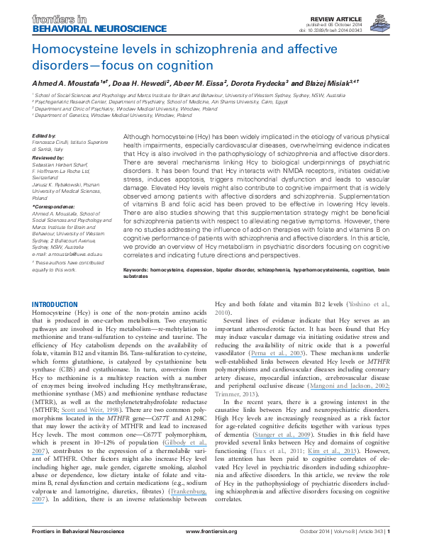 PDF) Homocysteine levels in schizophrenia and affective