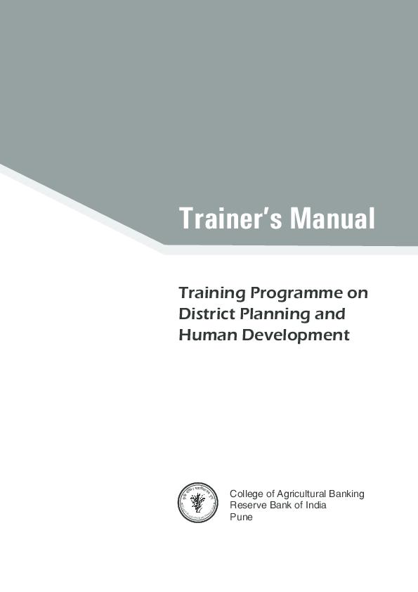 Pdf Trainers Manual On District Planning And Human Development Emmanuel V Murray Academia Edu