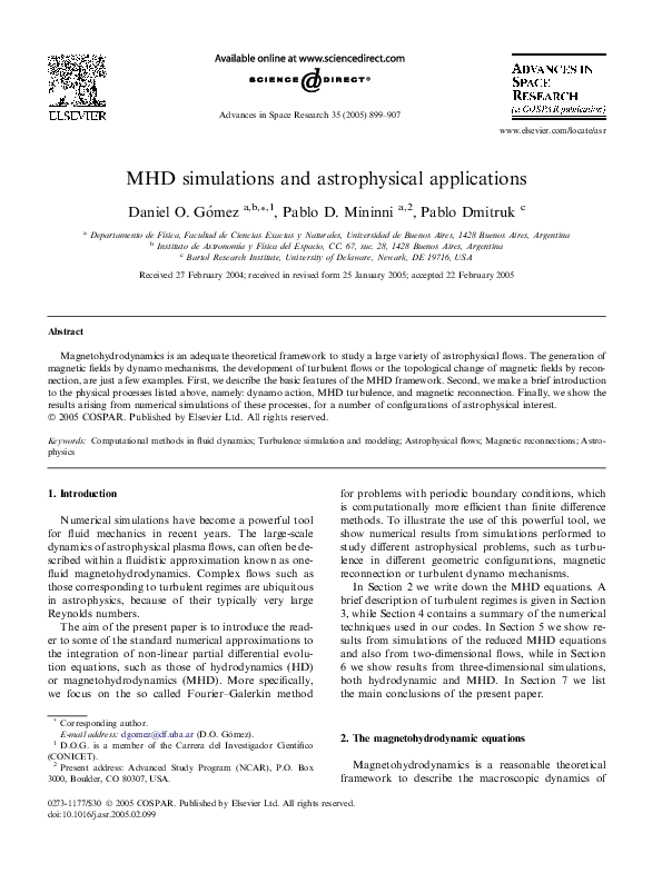 PDF) MHD simulations and astrophysical applications | Daniel