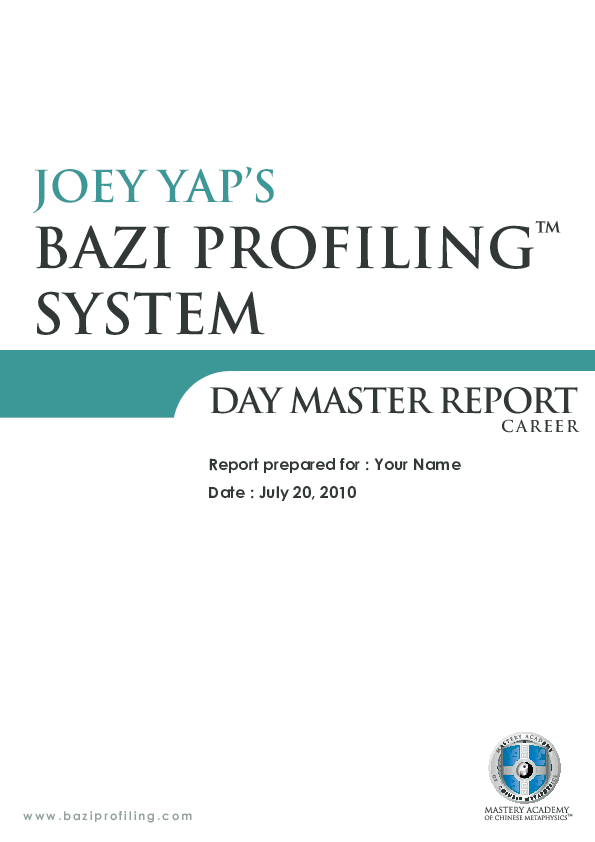 PDF) BAZI PROFILING ™ SYSTEM DAY MASTER REPORT | NhatMinh