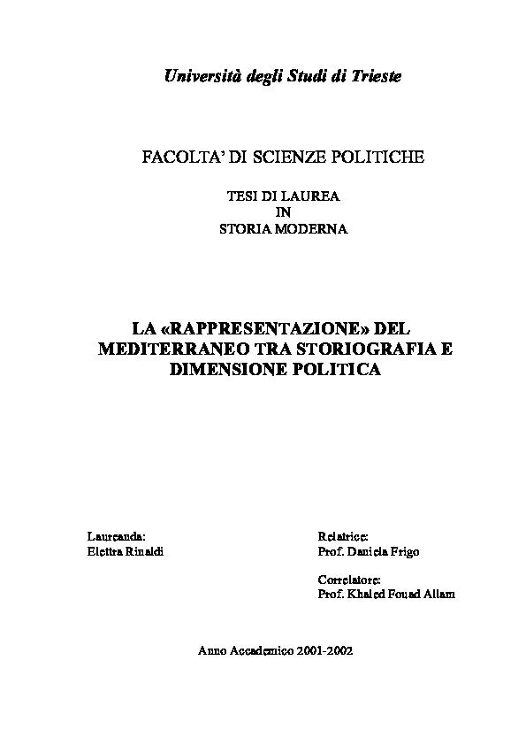 Cartina Muta Bacino Del Mediterraneo.Doc La Rappresentazione Del Mediterraneo Tra Storiografia E Dimensione Politica Elettra Rinaldi Academia Edu