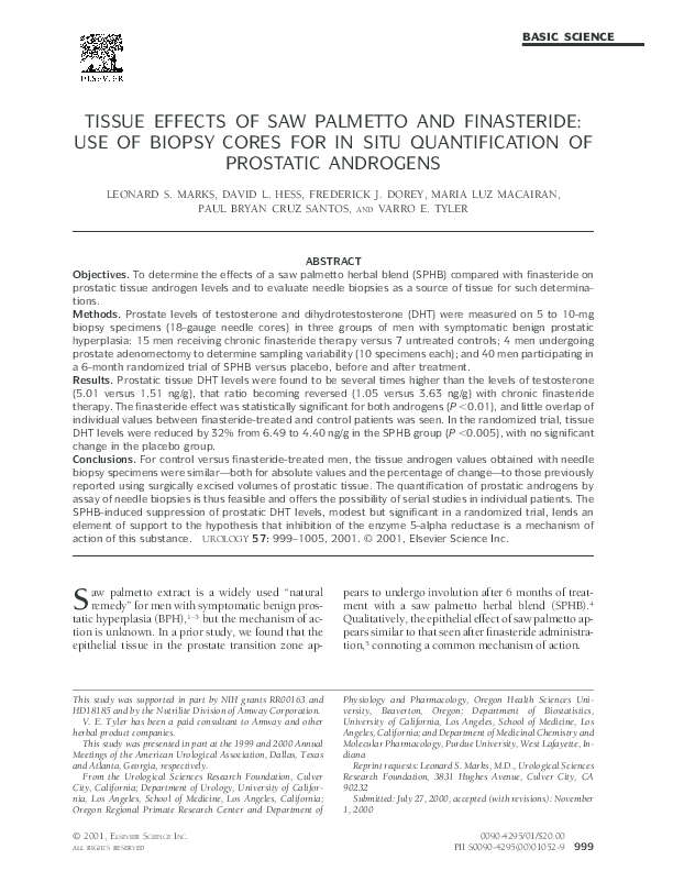 Pdf Tissue Effects Of Saw Palmetto And Finasteride Use Of Biopsy Cores For In Situ Quantification Of Prostatic Androgens Fred Dorey Academia Edu