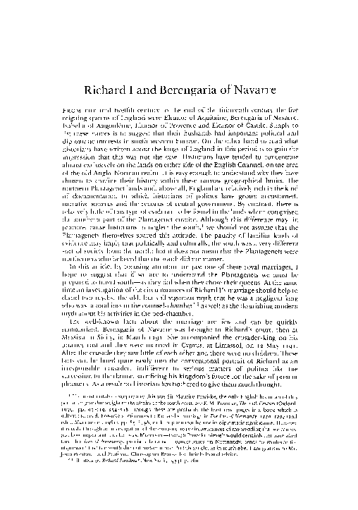 PDF) Richard I and Berengria of Navarre   John Gillingham