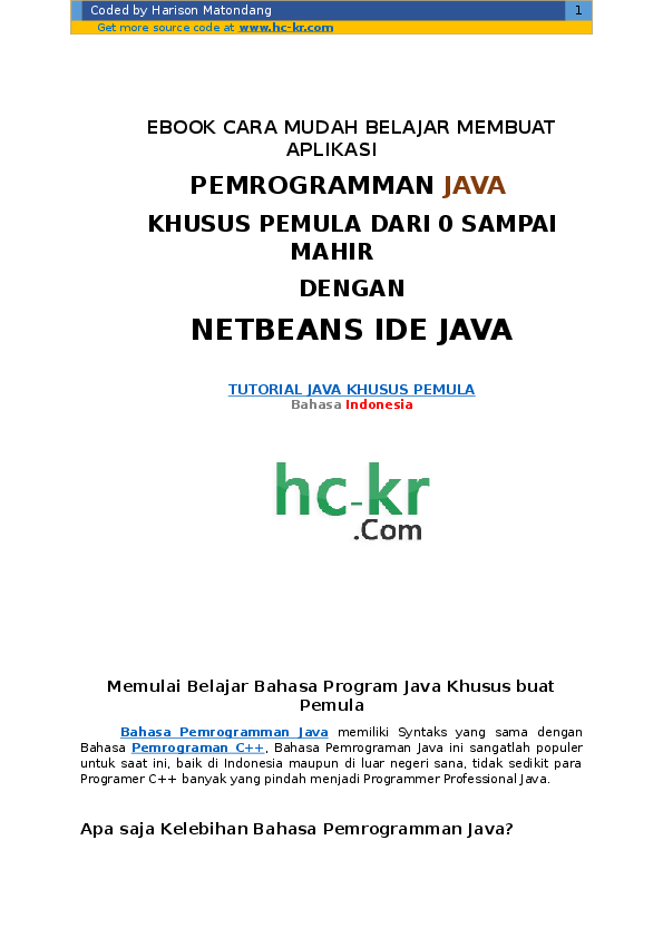 Ebook Pemrograman Java Bahasa Indonesia