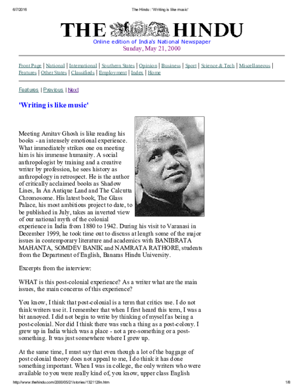 Writing is like Music: An Interview with Amitav Ghosh