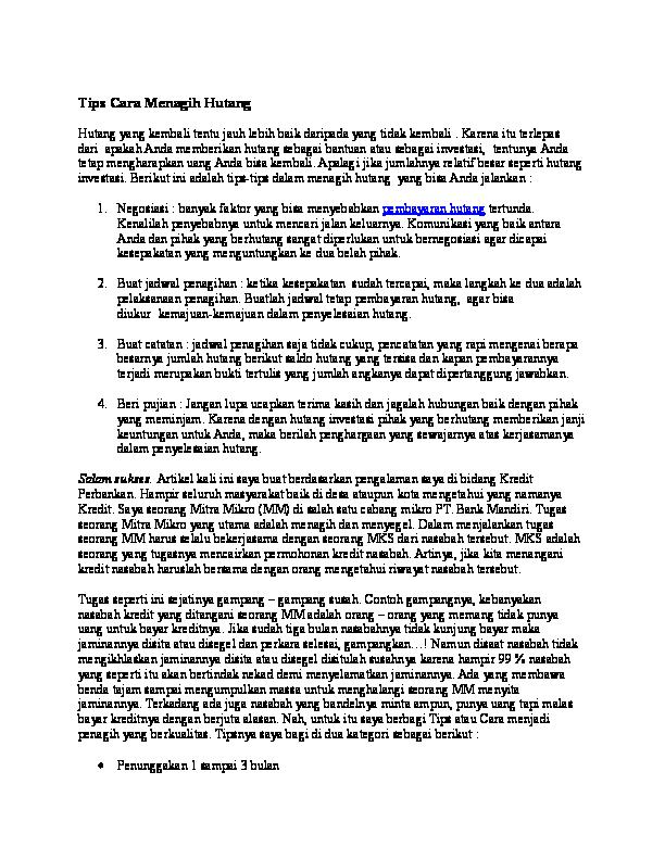 DOC) Tips Cara Menagih Hutang | Drajat Firmansyah - Academia edu