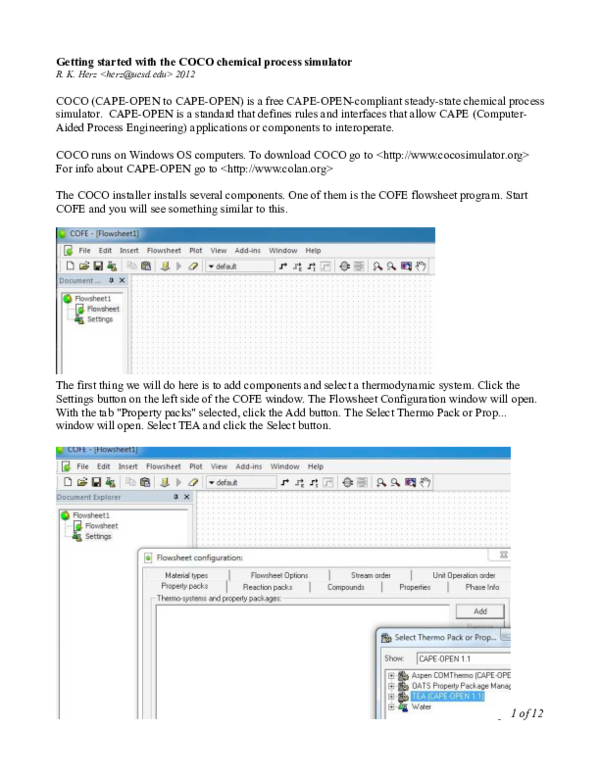 PDF) Getting started with the COCO chemical process simulator | JOSE