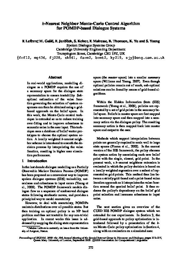 k-nearest neighbor Monte-Carlo control algorithm for POMDP