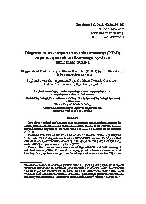 (PDF) Diagnosis of Posttraumatic Stress Disorder (PTSD) by ...