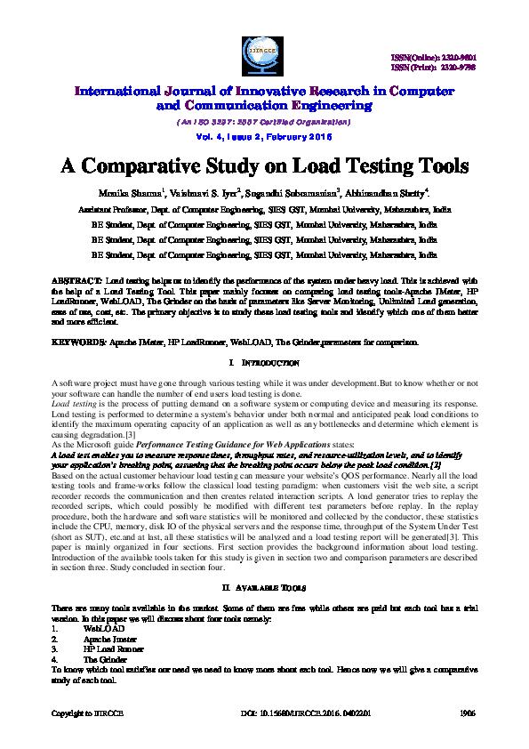 PDF) A Comparative Study on Load Testing Tools   Monika
