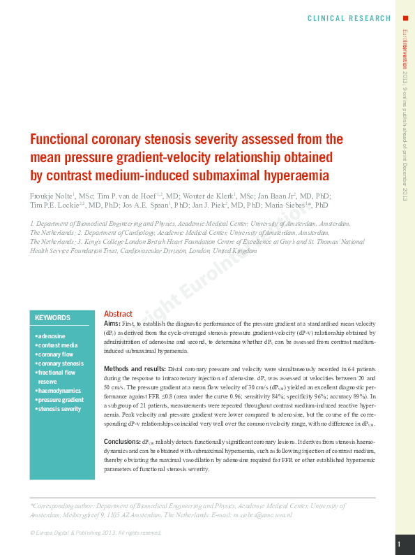 PDF) Functional coronary stenosis severity assessed from the