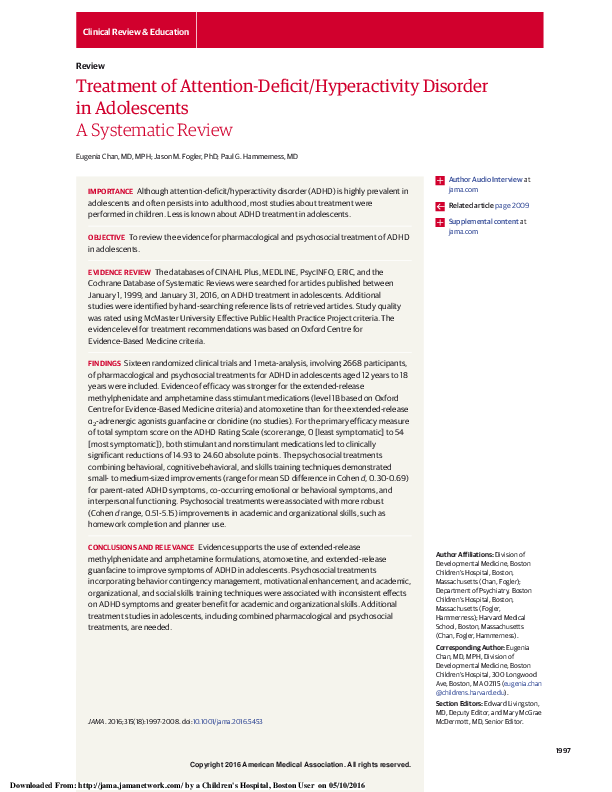 PDF) Treatment of Attention-Deficit/Hyperactivity Disorder