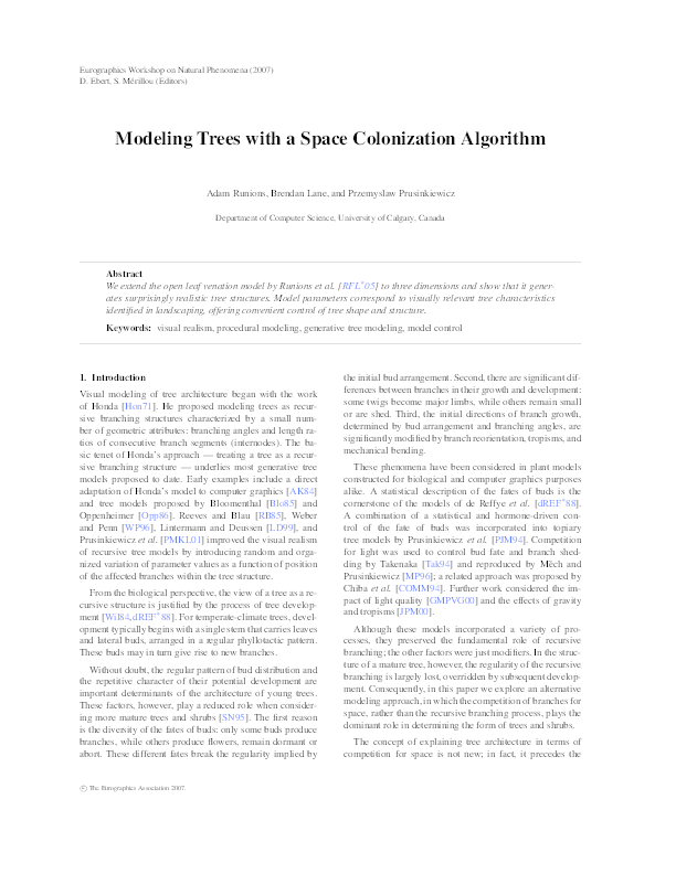 PDF) Modeling trees with a space colonization algorithm | Adam