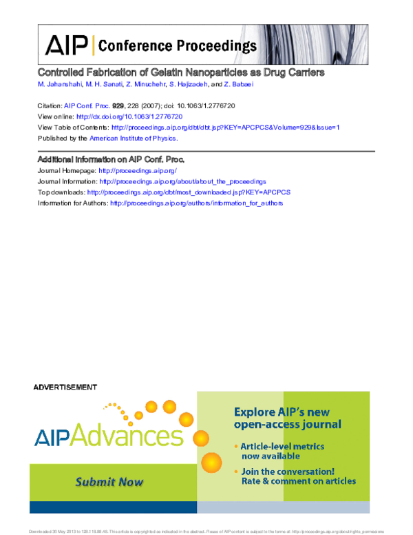 PDF) [AIP NANOTECHNOLOGY AND ITS APPLICATIONS: First Sharjah